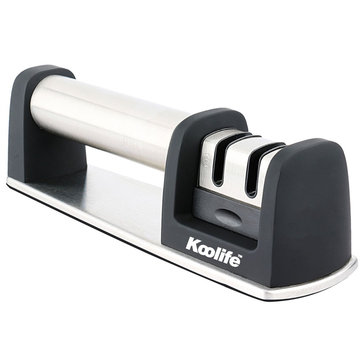 Koolife Knife Sharpener with 2 Stage Coarse & Extra-Fine Sharpening System for Steel Knives in All Sizes,Black