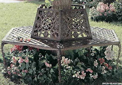 Oakland Living Tea Rose Cast Aluminum Tree Bench, Antique Bronze 1