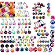 100 x Navel belly bars, good mixed colours and designs
