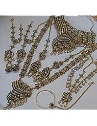 Monalisa Exports Maroon Green Non-Precious Metal Golden Green Maroon 8 Pcs Bridal Jewellery Set For Women
