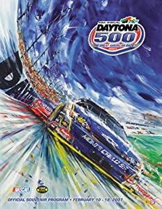 NASCAR Canvas 36 x 48 Daytona 500 Program Print Race Year: 49th Annual - 2007 by Mounted Memories