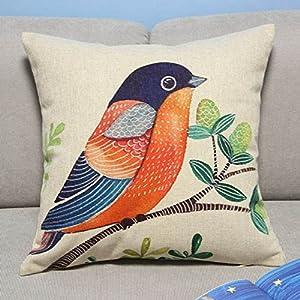 Colorful Bird Throw Pillows : Amazon.com: Colorful Bird & Tree Throw Pillow Case Home Decor Cushion Cover Square 18