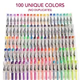Gel Pen Set for Coloring - 100 Unique Colors (No Duplicates) Superior Quality, Free Flowing. XXL Pack Size - 60% Extra Ink. Includes Glitter Pens, Metallic, Neon, Pastel, Fluorescent & Classic Shades