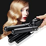 Digital Curling Iron Ceramic 3 Barrel Jumbo Curling Wand Fast Safe Beach Wave Iron with LCD 176?-446? Temperature Display (25mm,Black) (Color: Wave Iron - Black)