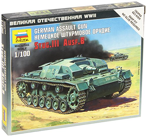 Zvezda Models Sturmgeschutz III Ausf.B Vehicle Building Kit, Scale 1/100