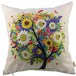 HOSL Flowers Tree Cotton Linen Square Decorative Throw Pillow Case Cushion Cover 18 x 18 Inch