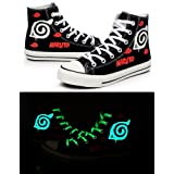 Naruto Anime Naruto Logo Cosplay Shoes Canvas Shoes Sneakers Luminous (Color: Black, Tamaño: 13 D(M) US Male)