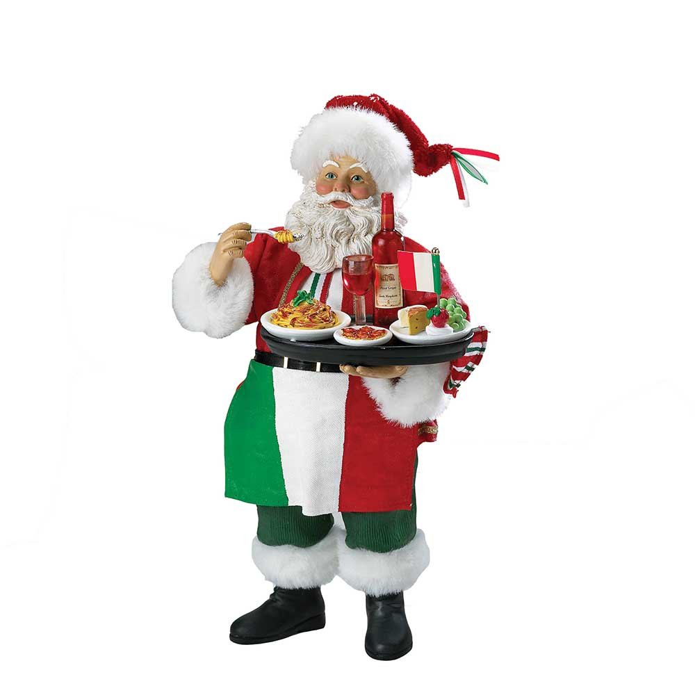 Kurt Adler Musical Fabriche Italian Santa Figurine, 10.5-Inch wooden cork wine grapes bunch ornament burgundy c8558 a kurt adler