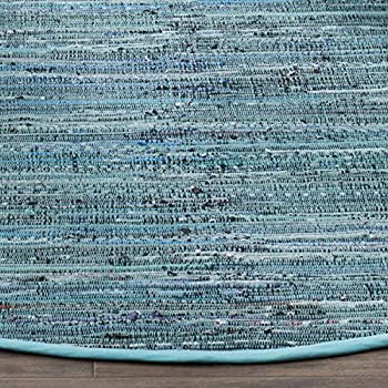 Safavieh Rag Rug Collection RAR127C Hand Woven Turquoise and Multi Cotton Round Area Rug (6 Diameter)