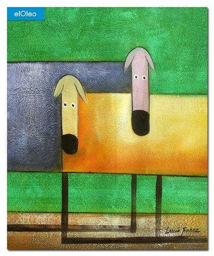 elOleo Pop Art – Das lustige bunte Hundeduo 60×50 Gemälde auf Leinwand handgemalt 83260A jetzt bestellen