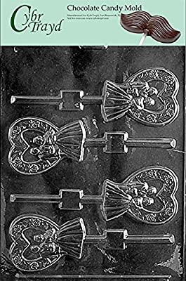 Cybrtrayd W053 Heart Bride and Groom Lolly Chocolate Candy Mold with Exclusive Cybrtrayd Copyrighted Chocolate Molding Instructions