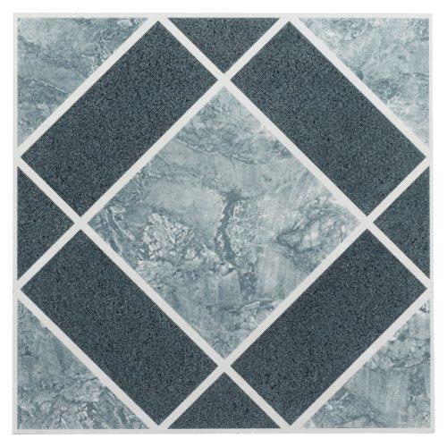 Achim Home Furnishings FTVGM30320 Nexus 12-Inch Vinyl Tile, Geo Light and Dark Blue Diamond Pattern, 20-Pack