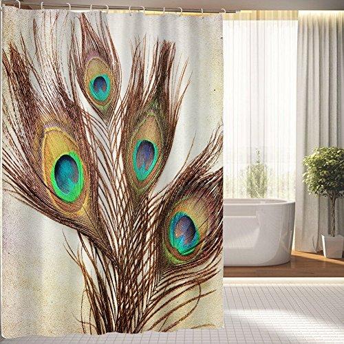 bbfhome orlo pesi sfondo Vintage con piume di pavone tessuto impermeabile Bagno Doccia Tenda, Poliestere, Multicolor, 200 ( L ) x 180 (H) CM