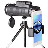 High Power Monocular Telescope Scope and Quick Smartphone Holder for Adults Kids Bird Watching Hunting Travling Wildlife Secenery (Black) (Color: Black)