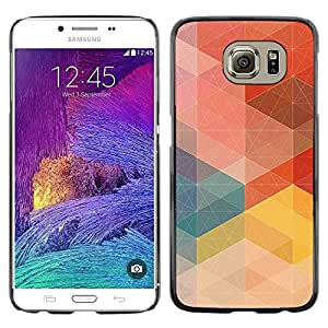 Omega Covers - Snap on Hard Back Case Cover Shell FOR Samsung Galaxy S6 - Pastel Pattern Order Red Tone