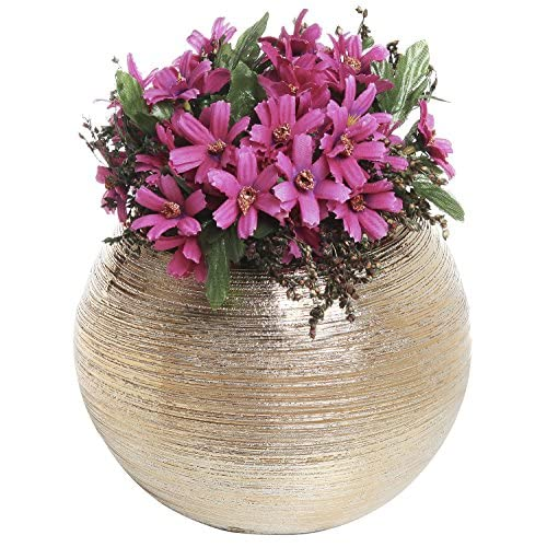 6.75 Inch Round Modern Metallic Gold Tone Ridged Ceramic Plant Flower Planter Pot, Decorative Bowl Vase