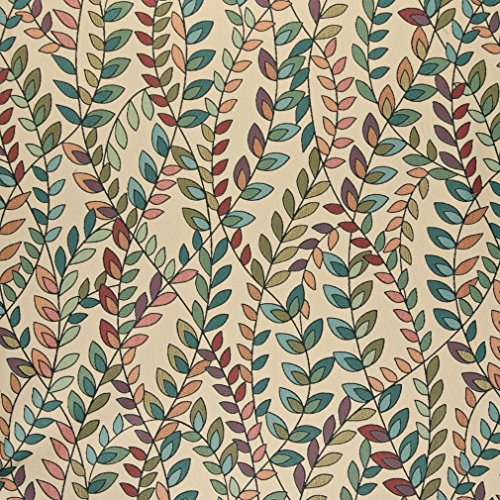 A0027C Teal Green Orange And Purple Vines And Leaves Contemporary Upholstery Fabric By The Yard (Buy Upholstery Fabric compare prices)