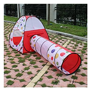 IMAGE® Kids Playing Hut House Dots Pop Up Tent And Crawl Tunnel Set from eWonderWorld