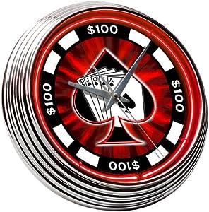 Poker Chip Neon Clock