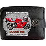 Ducati 916 Motorbike Motorcycle Mans Black Real Leather Wallet Gift Present for sale Printed image