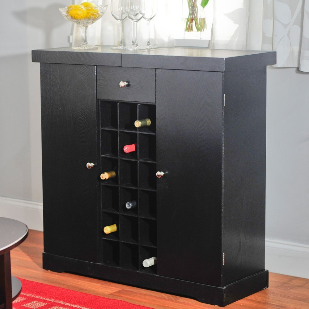 Home Wine Bar Liquor Cabinet Storage Wooden Black Kitchen