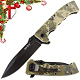 Pocket EDC Knife Clip – Compact Tactical Folding Utility Knife G-10 Handle Men – Best Knife Camping Urban Hiking Work Survival 11533 (Color: Camo 1, Tamaño: Medium)