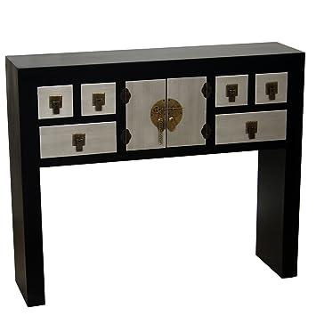 PAME 40631 - Mesa de entrada con 6 cajones y 2 puertas, madera, 92 x 78 x 24 cm, color negro y plata