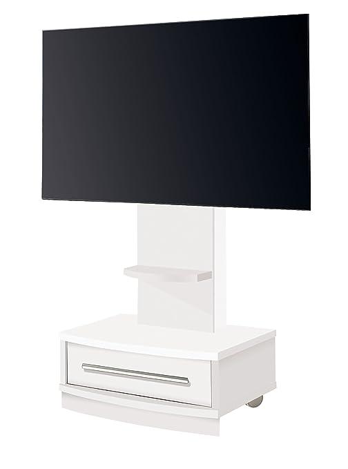 Suenoszzz- 42397 B - Mesa Tv Mueble Auxiliar En Madera Color Blanco. Incluye Ruedas Y Un Cajón. Medidas: 72X 50 X 130 Cm.