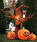 90 Tall Large LED Lighted Spooky Airblown Inflatable Halloween Haunted House Tree Ghost Owl Jack O Lantern Pumpkins Outdoor Yard Decoration