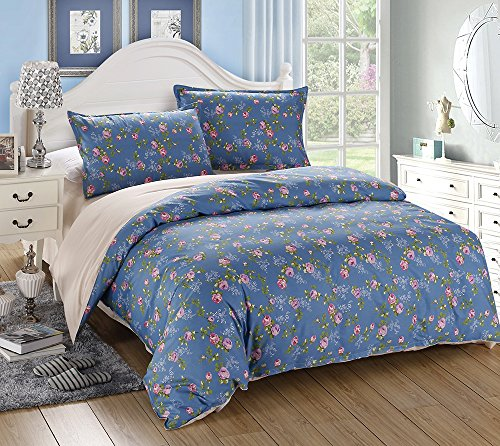 vaulia 250 thread count cotton duvet cover set print floral pattern reversible design full. Black Bedroom Furniture Sets. Home Design Ideas