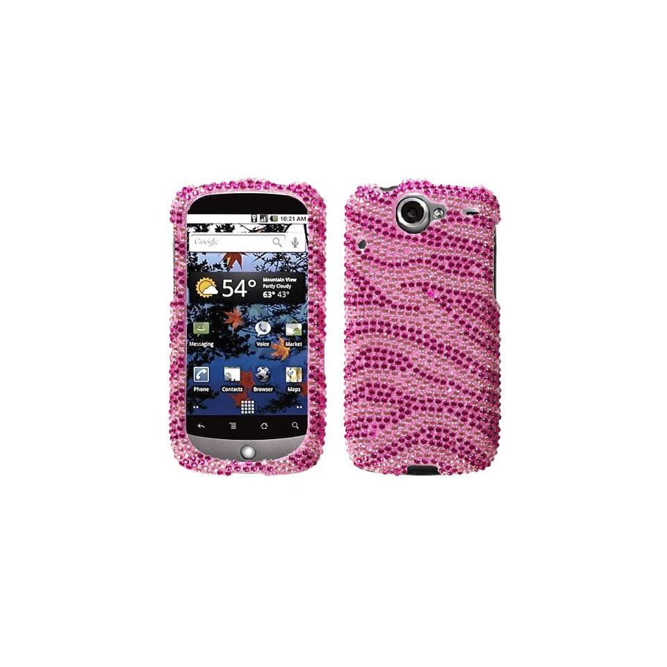 Pink Zebra Skin Diamante Crystal Protector Phone Cover for HTC Google Nexus One