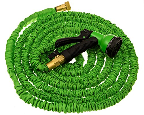 Ft expandable garden hose water solid brass ends