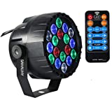 SAHAUHY Par Lights RGBW 18 Leds Uplights Stage Lights Sound Activated Or DMX Control with Remote (Color: black, Tamaño: Large)