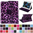 HDE 360� Rotating Leather Folio Case and Stand with Sleep/Wake Feature for iPad 2/3/4 (Purple Leopard Print)