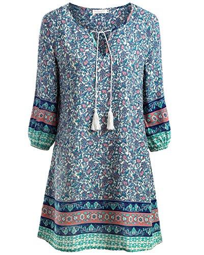 BAISHENGGT Damen Herbst Tunika Minikleid Vintage Bohemian Kleider