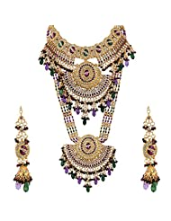 Lucky Jewellery Purple And Green Gold Plated Bridal Jewellery Set For Women