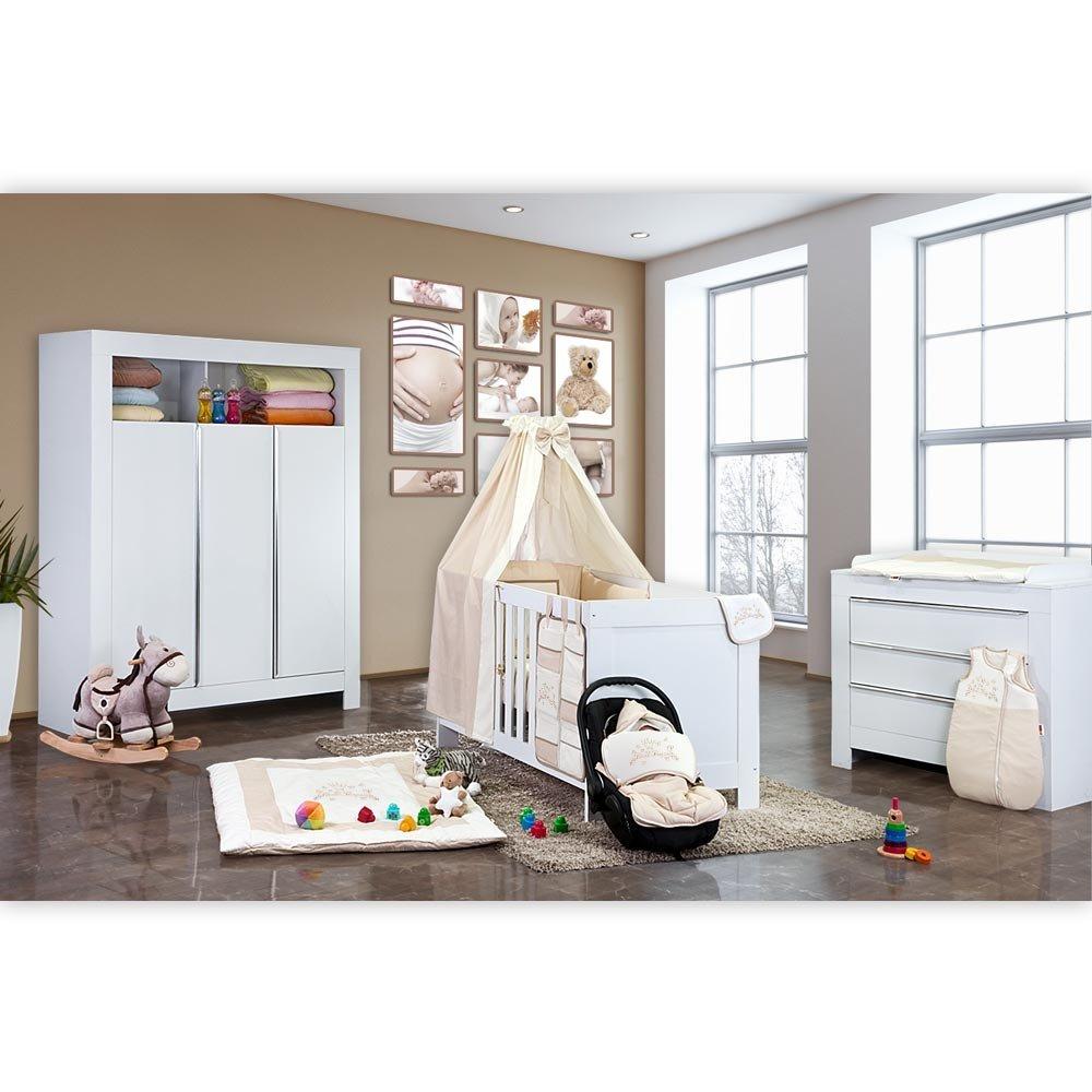 Babyzimmer Felix in weis 21 tlg. mit 3 türigem Kl + Kleine Prinzessin in Beige
