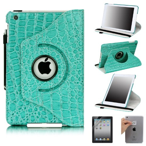 E-LV 360 Degrees Rotating Stand Leather Smart Case for Apple iPad Mini/iPad Nano Luxury Crocodile Pattern with 1 Screen Protector, 1 Black Stylus and E-LV Microfiber Digital Cleaner (Turquoise, iPad mini)