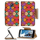Motorola Google Nexus 6 Flip Pu Leather Wallet Case Colorful multicolored geometric abstract digital photo collage technique pattern IMAGE 36334379 by MSD Customized Premium