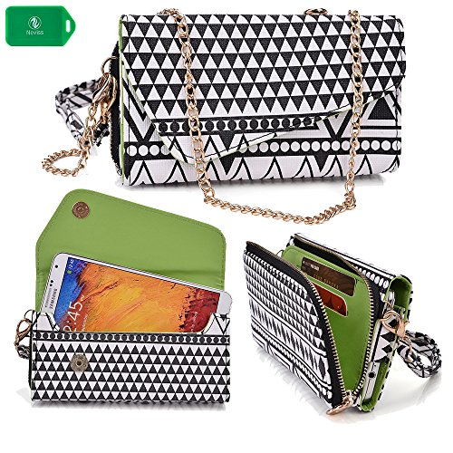 Smartphone Wallet Wristlet| Black/White Aztec Print |Universal Fit For Lg G3 Cat.6/ Lg G3 Prime