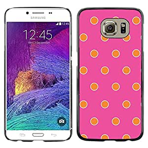 Omega Covers - Snap on Hard Back Case Cover Shell FOR Samsung Galaxy S6 - Pink Fuchsia Orange Happy Pattern