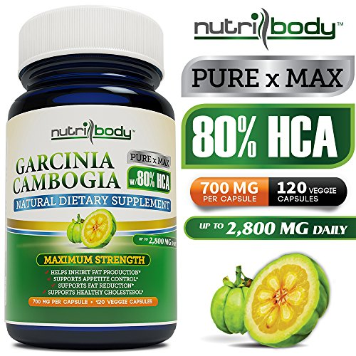 Nutribody Pure Garcinia Cambogia Extract - 80% Hca (Highest On Amazon), 700 Mg Per Capsule, 120 Vegetarian Capsules, 30 Days Supply Of 2800 Mg Extremely Powerful New And Improved Garcinia Cambogia Extract, Maximum Strength Natural Weight Loss Supplement,