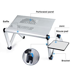 Aluminum Laptop Stand Adjustable Laptop Desk Table for Office Dorm Bed Sofa, Large 19 Ergonomic Portable Tray with CPU Cooling Fans and Mouse Pad Monitor Riser, Upgrade NO Swing (Color: Silver)