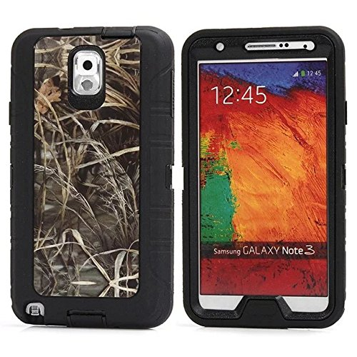 For Samsung Galaxy Note 3 Case - FiversTM Heavy Duty Case 3 in 1 Three Advantages Waterproof Dustproof Shakeproof Forest Camouflage Desig Cell Phone Cases for Samsung Galaxy Note 3 Grass- Black
