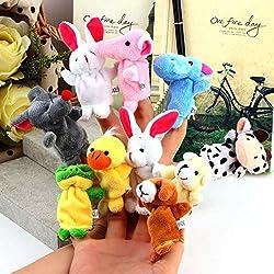10 Pcs Cute Velvet Finger Animal Puppet Toy