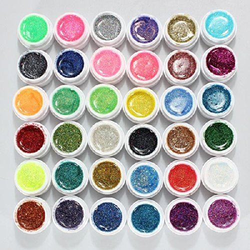 36 Pots Glitter Powder Uv Builder Gel Nail Art