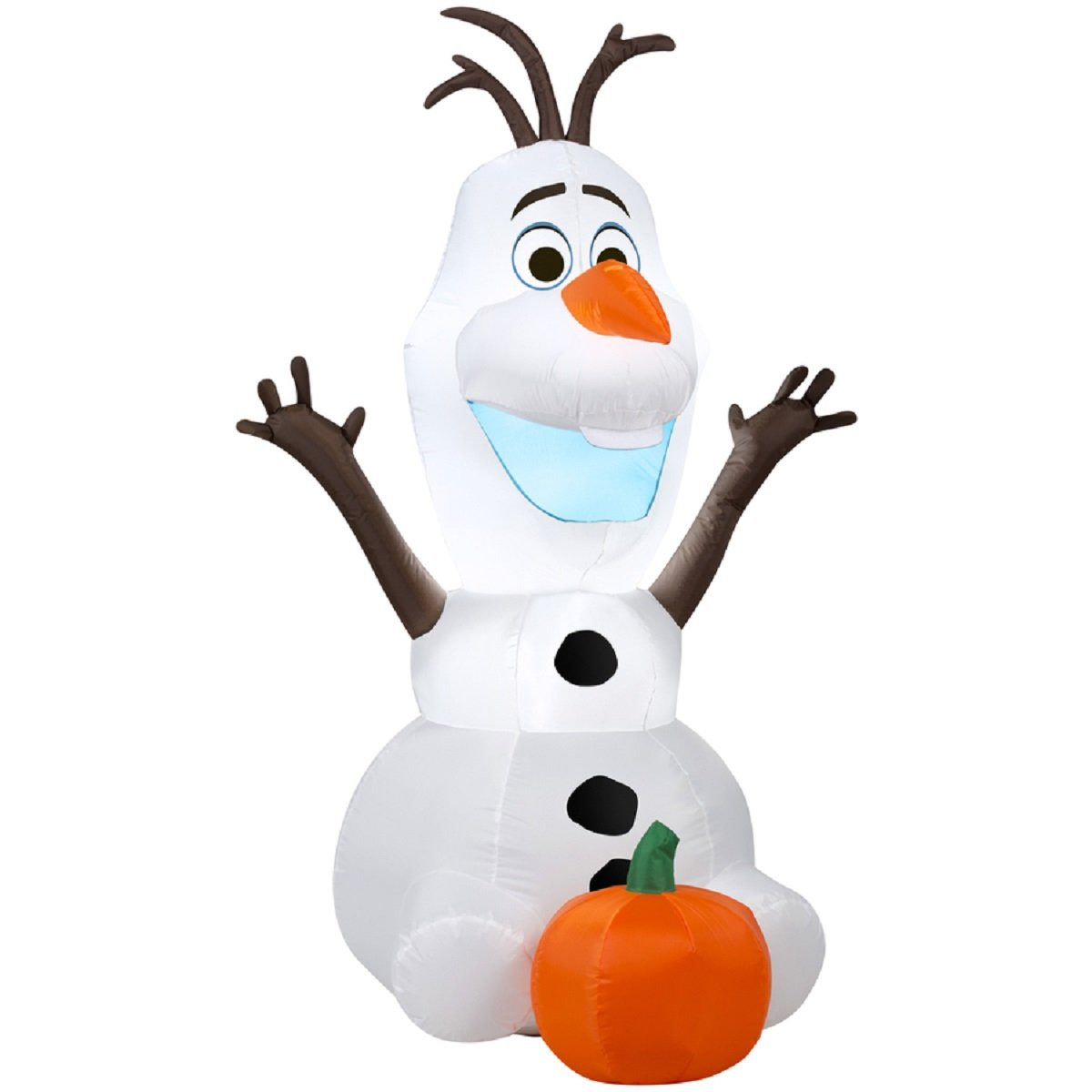 HALLOWEEN INFLATABLE DISNEY FROZEN LED LIGHTED 3.5' OLAF WITH PUMPKIN OUTDOOR INDOOR GEMMY YARD PROP DECORATION