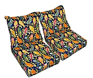"Blue Ash Hill Garden Birds Cushions for Patio Outdoor Deep Seating Furniture Loveseat - Choice of Size (SEAT CUSHION - 20.5""W X 22""D / BACK CUSHION - 20.5""W X 21""D) from Resort Spa Home Decor"