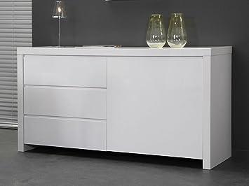Sideboard Kommode Lack weiß 150x80 3Schube Hochglanz
