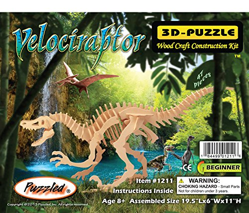 Puzzled Velociraptor Wooden 3D Puzzle Construction Kit - 1